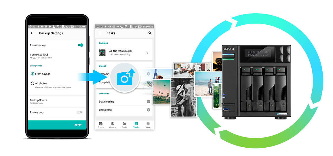 Asustor NAS 華芸 Automatically back up photos from your phone in real-time.