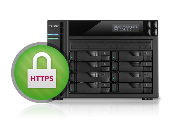 Asustor NAS 華芸 HTTPS connections protect sensitive transmissions