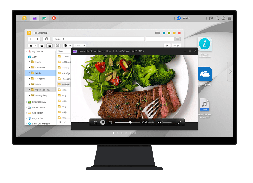 Asustor NAS 華芸 Přehrávání videa s ADM File Explorerem