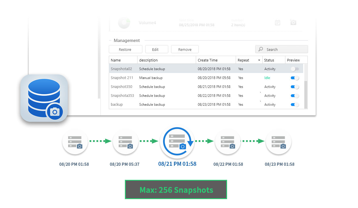 Asustor NAS 華芸 Snapshot Center makes managing Snapshots easy!