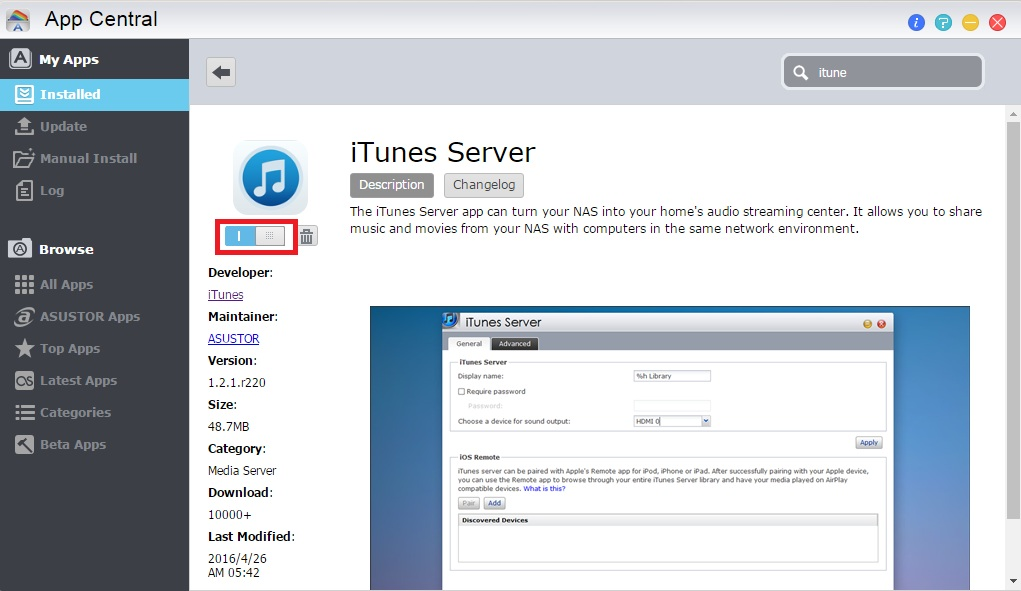 Using Remote with iTunes Server - ASUSTOR NAS