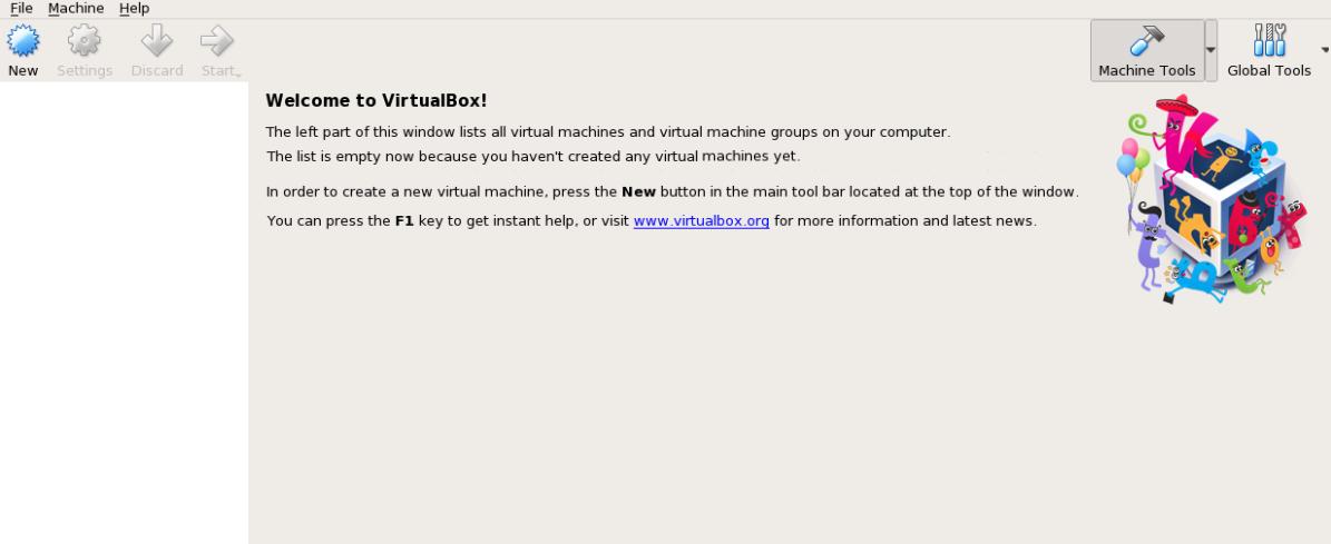 giao diện quản lý VirtualBox