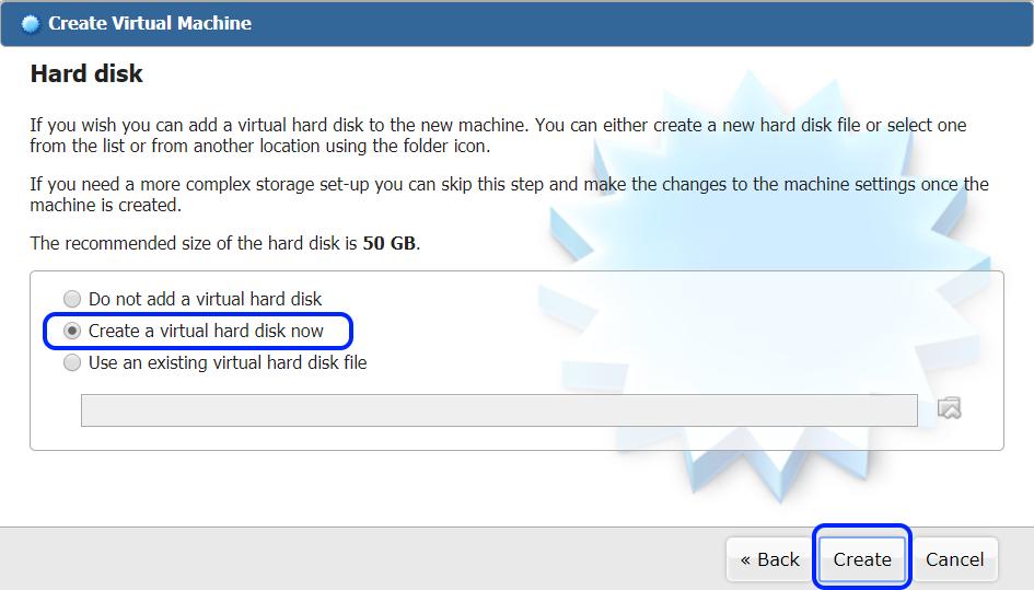 Create a virtual hard driver now