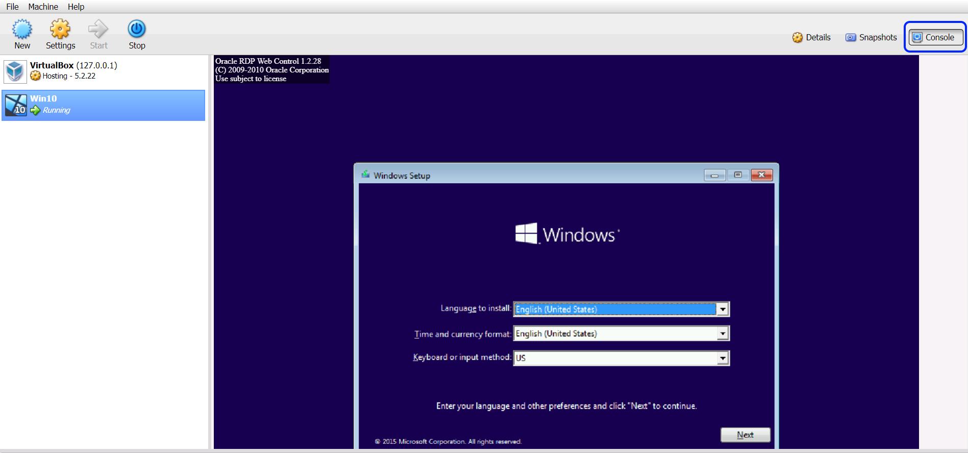 Sử dụng trình duyệt web để mở VirtualBox trong ADM